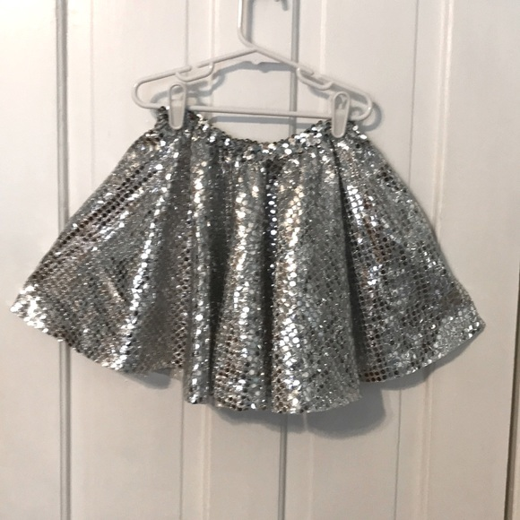 3 silver sequin fabric circle skirts